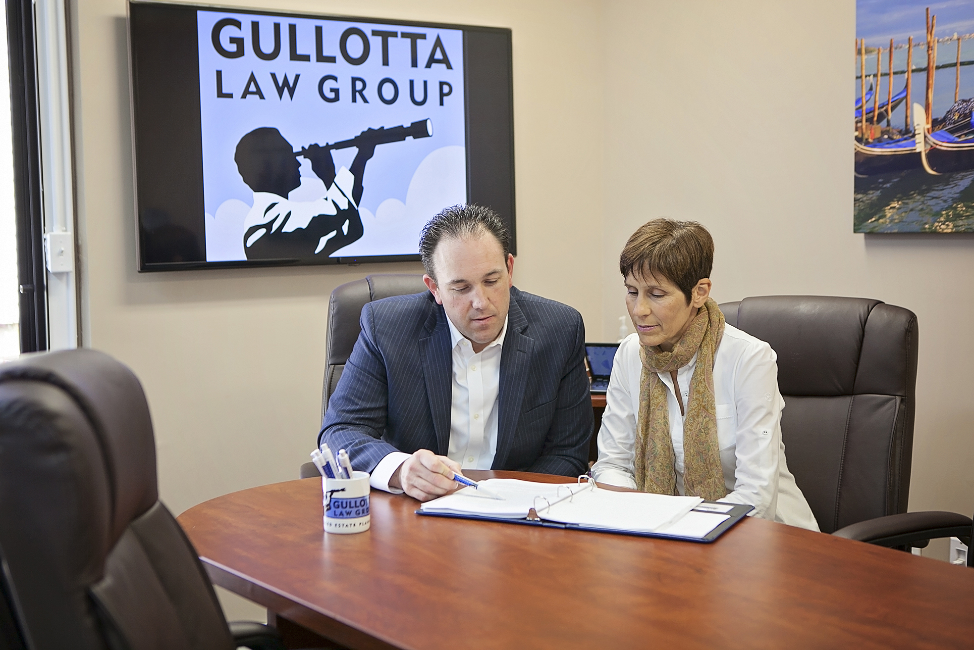 Meeting with a Woman in the Gullotta Law Group Conference Room
